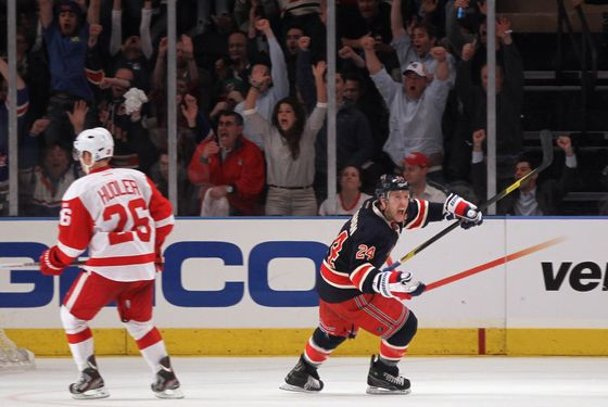 NEW YORK, NY - MARCH 21:  Ryan Callahan #24 of the New York Rangers celebrates his game winning goal at 2:42 of overtime to defeat the Detroit Red Wings 2-1 at Madison Square Garden on March 21, 2012 in New York City.  (Photo by Bruce Bennett/Getty Images)