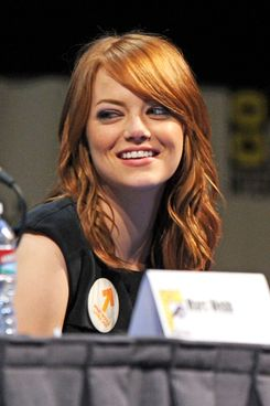 """SAN DIEGO, CA - JULY 22:  Actress Emma Stone speaks at """"The Amazing Spider-Man"""" Panel  during Comic-Con 2011 at San Diego Convetion Center on July 22, 2011 in San Diego, California.  (Photo by Kevin Winter/Getty Images)"""