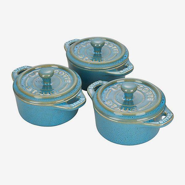 Staub Mini Round Cocottes in Turquoise (Set of 3)