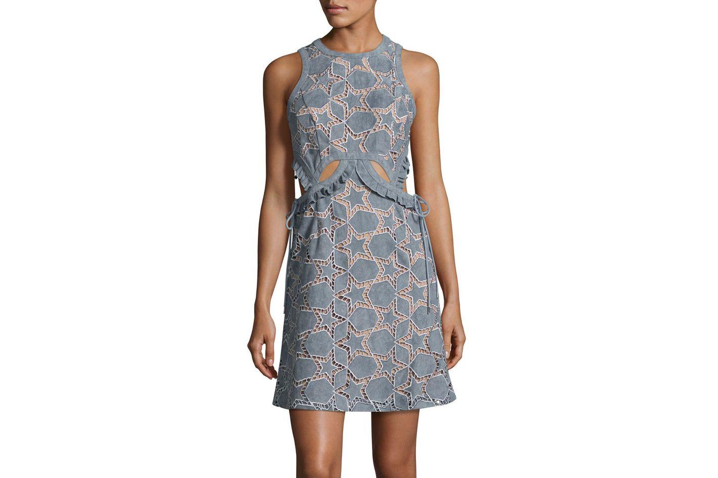 Self-Portrait Cutwork Star Mini Dress, Blue