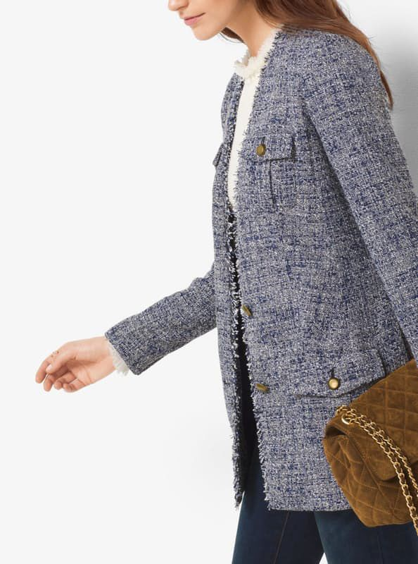 Michael Kors Fringed Tweed Blazer