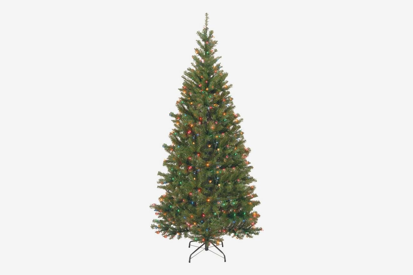 National Tree Company 6' Aspen Hinged Green Spruce Artificial Christmas Tree with Multi-Colored Lights with Stand