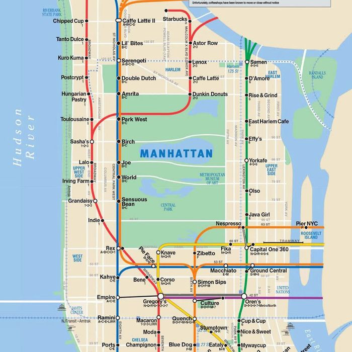 Brooklyn Heights Subway Map.Cafe Map Sorts Manhattan S Best Coffee By Subway Stop
