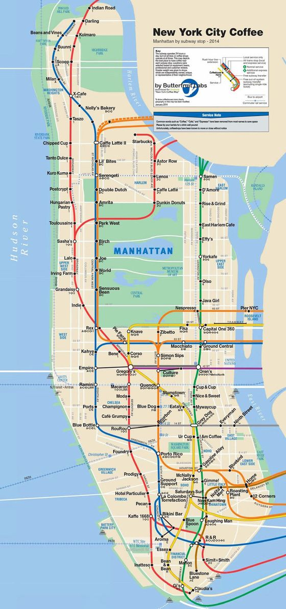 Caf Map Sorts Manhattans Best Coffee by Subway Stop – Map Manhattan