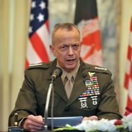 US commander in Afghanistan, General John Allen speaks during a ceremony at the foreign ministry in Kabul on April 8, 2012. Afghanistan and the US signed a deal on special forces operations in the insurgency-wracked country with Kabul saying it will put Afghans in the lead on controversial night raids.