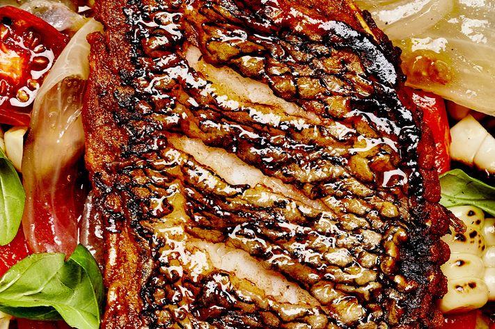 Yet-to-be-named Dan Kluger restaurant: Roasted black bass with summer vinaigrette.