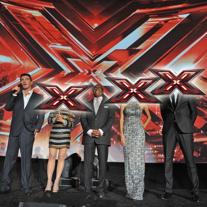 THE X FACTOR: (L-R) Simon Cowell, Paula Abdul, L.A. Reid, Nicole Scherzinger and Steve Jones address the audience at FOX's