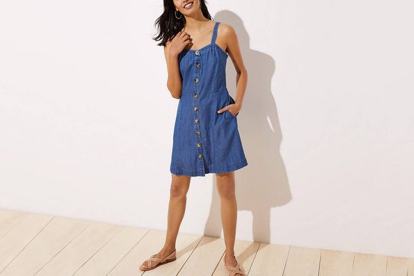 Loft Button Down Pocket Flare Dress in Chambray