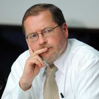 Grover Norquist, President of Americans for Tax Reform listens to a question during a press conference marking annual Cost of Government Day,