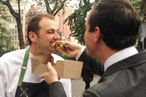 Guidara feeds Humm a Humm-burger.