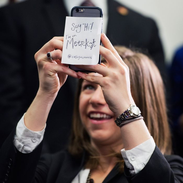 Conference aide SoRelle Wyckoff films a news conference in the Capitol after a meeting of the House Republican Conference using the live streaming app Meerkat, March 24, 2015.