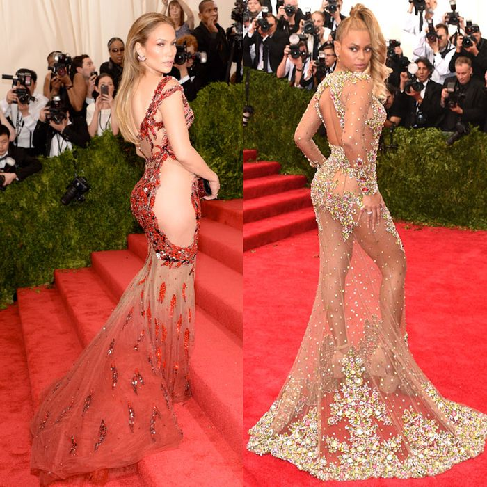 Jennifer Lopez, Beyonce, and Kim Kardashian at the 2015 Met Gala.