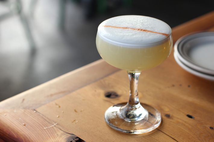 Safety Third: pisco, lemon, Banane du Brésil, and egg white.