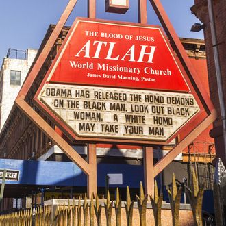 Homophobic sign on the Atlah Church in Harlem