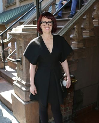 NEW YORK, NY - AUGUST 19: Megan Mullally attends the Breakfast at Joe Allen for the cast and creative team of 'It's Only a Play' at Joe Allen Restaurant on August 19, 2014 in New York City. (Photo by Walter McBride/WireImage)