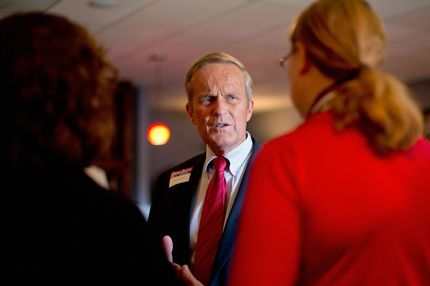 U.S. Rep. Todd Akin (R-MO) speaks to supporters during a fundraiser, which was also attended by Former Speaker of the House Newt Gingrich, on September 24, 2012 in Kirkwood, Missouri.