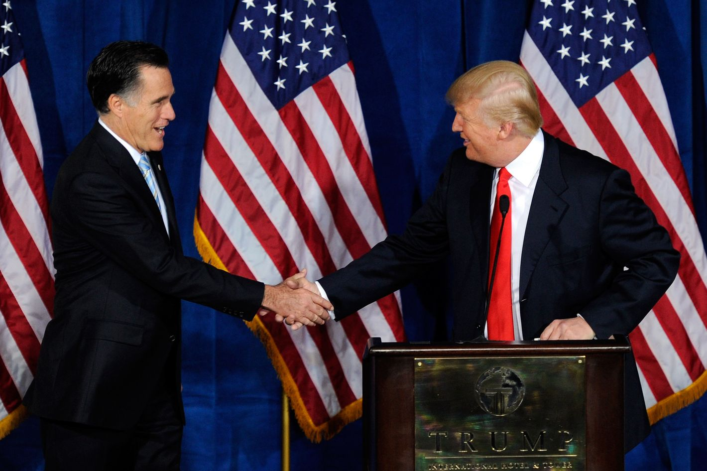 Republican presidential candidate, former Massachusetts Gov. Mitt Romney (L) and Donald Trump shake hands during a news conference held by Trump to endorse Romney for president at the Trump International Hotel & Tower Las Vegas February 2, 2012 in Las Vegas, Nevada. Romney came in first in the Florida primary on January 31 and is looking ahead to Nevada's caucus on February 4.