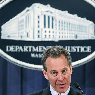 New York Attorney General Eric Schneiderman speaks during a news conference at the Justice Department on January 27, 2012 in Washington, DC.