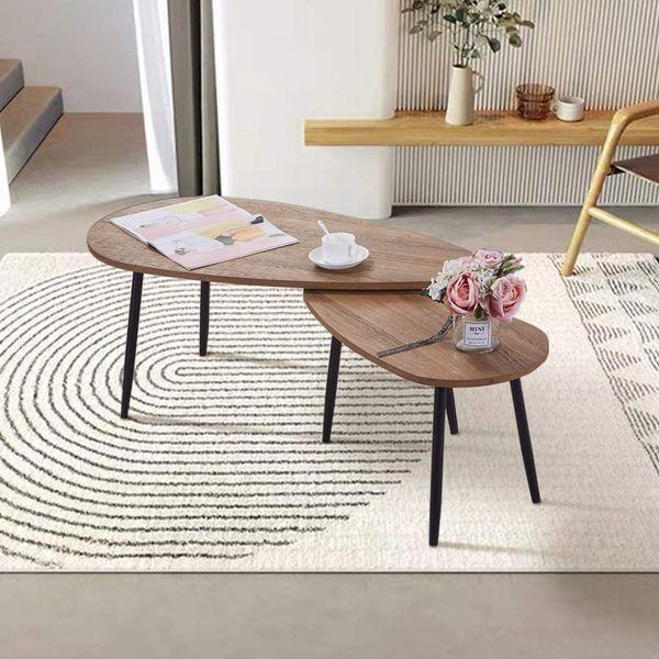 GOLDFAN Walnut Triangle Coffee Table Set of 2