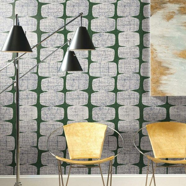 RoomMates Mid-Century Beads Green and White Peel and Stick Wallpaper