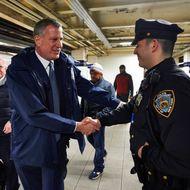Bill de Blasio greets New York City Subway riders