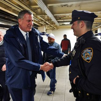 Bill de Blasio greets New York City Subway riders