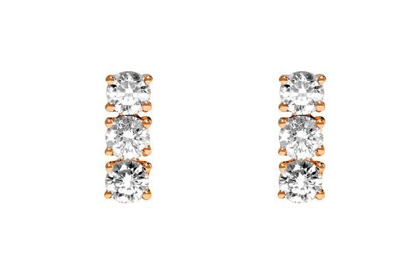 Diamond 3-Dot earrings in rose gold