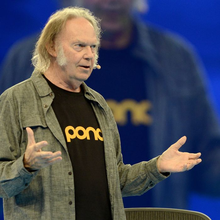 SAN FRANCISCO, CA - OCTOBER 16: Neil Young delivers a keynote speech at Salesforce.com's Dreamforce 2014 Conference at Moscone South on October 16, 2014 in San Francisco, California. (Photo by Tim Mosenfelder/Getty Images)