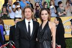 Brad Pitt, Angelina Jolie== 18th Annual Screen Actors Guild Awards== Shrine Auditorium, Los Angeles, CA== January 29, 2012== ©Patrick McMullan== Photo - ANDREAS BRANCH/PatrickMcMullan.com==