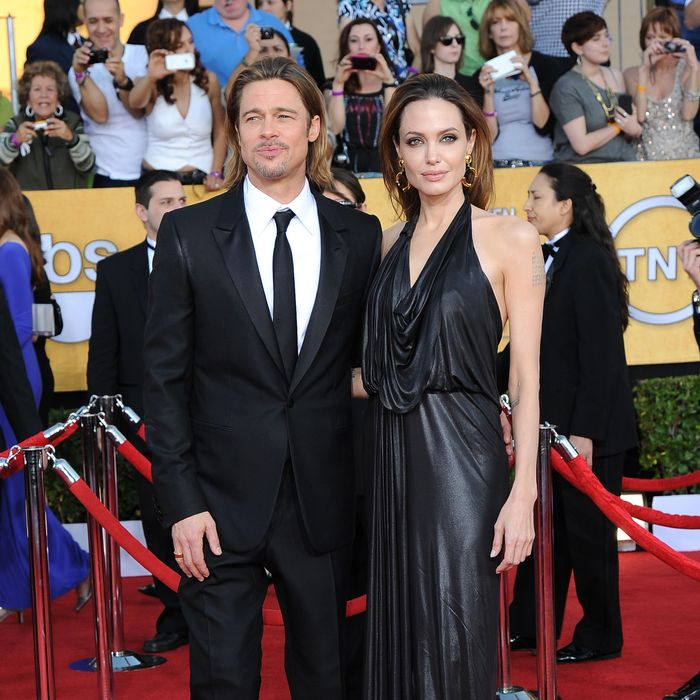 Brad Pitt, Angelina Jolie==18th Annual Screen Actors Guild Awards==Shrine Auditorium, Los Angeles, CA==January 29, 2012==?Patrick McMullan==Photo - ANDREAS BRANCH/PatrickMcMullan.com==