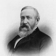 circa 1880:  Portrait of Benjamin Harrison (1833 - 1901), the twenty-third President of the United States, who served from 1889 to 1893. While in office, he signed the Sherman Antitrust Act.  (Photo by Hulton Archive/Getty Images)