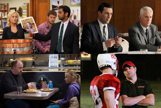 Worthy nominees: (clockwise from upper left) Parks and Recreation, Mad Men, Friday Night Lights, Louie