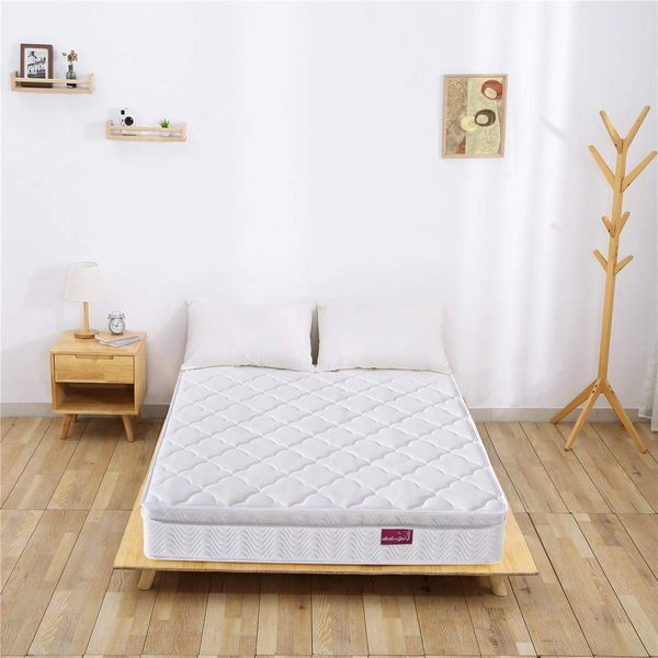 DOSLEEPS Double Mattress, 4FT6 9-Zone Pocket Sprung Mattress with Memory Foam and 3D Breathable Fabric (135x90x24cm)