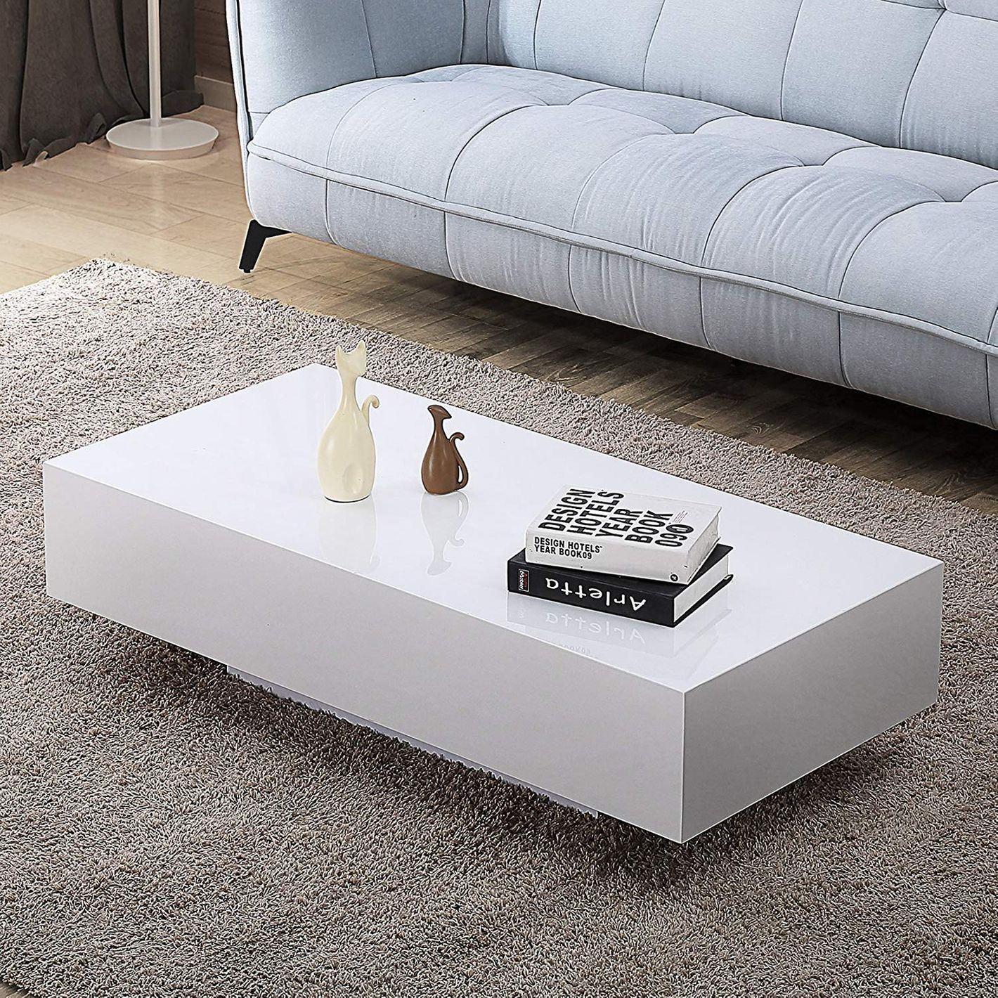 Mecor High Gloss White Rectangle Coffee Table