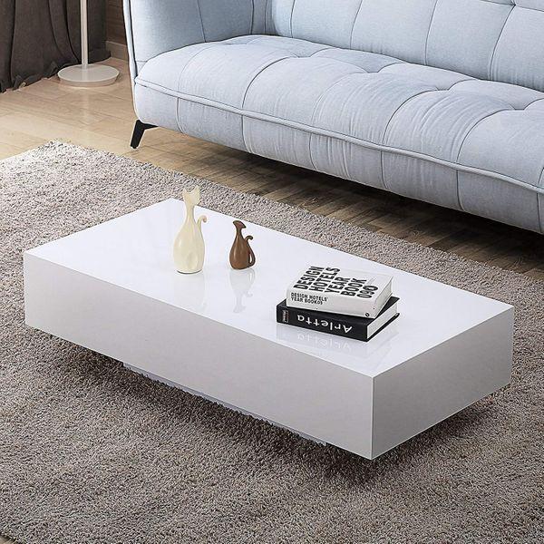 Mecor High Gloss White Rectangle Coffee Table