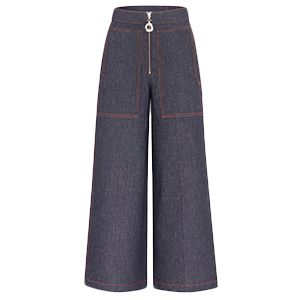 Indigo Denim Cropped Wide Leg Pant