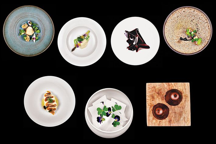 Atera's tasting menu: Courses, from top row: 13. Halibut with cucumber; 14. Asparagus with lovage and whey; 15. Foie gras with black currant and peanut; 16. Lamb en croûte with onion. Bottom row: 17. Chamomile with meringue, vanilla, and lemon; 18. Pine with rhubarb and yogurt; 19. Flødeboller.
