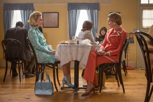 January Jones as Betty Francis and Anne Dudek as Francine Hanson - Mad Men _ Season 7, Episode 3 - Photo Credit: Justina Mintz/AMC