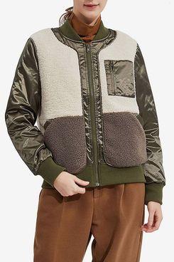 Orolay Women's Down Bomber Jacket Fleece Fuzzy Faux Winter Coat