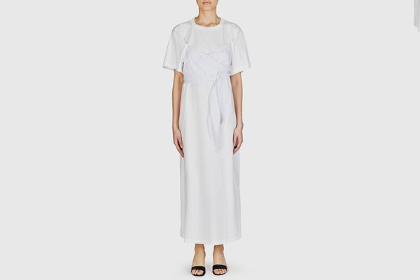 MM6 Maison Margiela Striped Cross Front Long Tee Dress