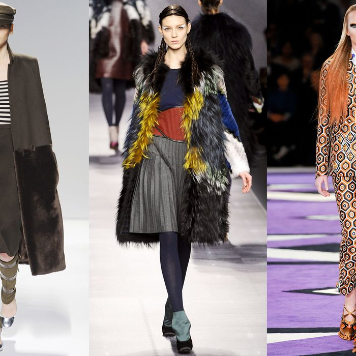 From left: looks from Max Mara, Fendi, and Prada