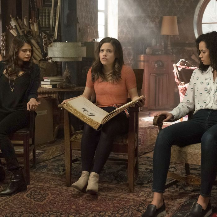 Melonie Diaz, Madeleine Mantock, and Sarah Jeffery in Charmed.