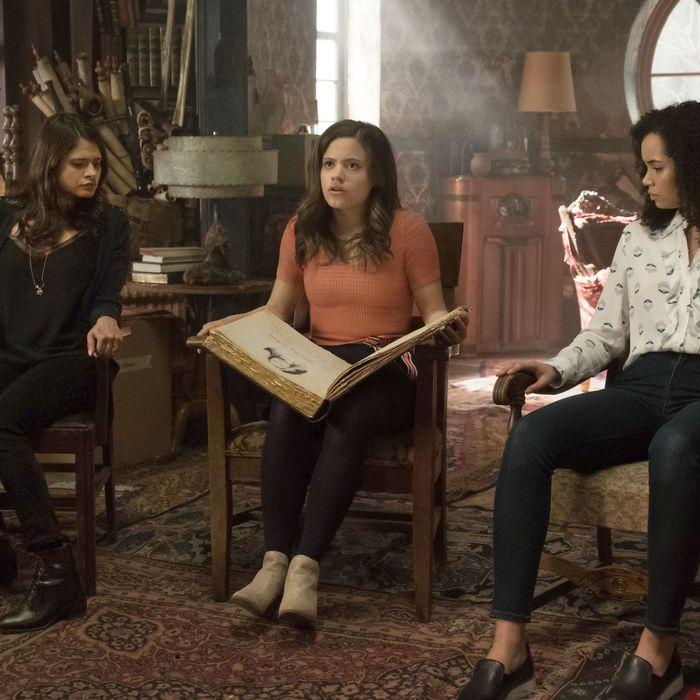 Melonie Diaz, Madeleine Mantock, and Sarah Jeffery in Charmed.