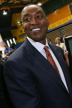 MIAMI - APRIL 15:  Isiah Thomas is presented with artwork by Fernando Ottati after he was introduced as the new head coach for Florida International Univeristy men's basketball team at U.S.Century Bank Arena on April 15, 2009 in Miami, Florida.  (Photo by Doug Benc/Getty Images)