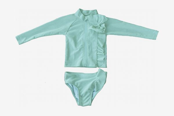 SwimZip Little Girl Mint Chip Rash Guard Swimsuit Set