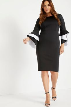 Eloquii Ruffle Flare Sleeve Dress