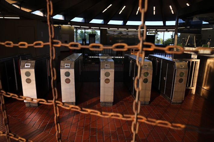 Pay gates sit empty at the North Berkeley Bay Area Rapid Transit (BART) station July 1, 2013 in Berkeley, California. Hundreds of thousands of San Francisco Bay Area commuters are scrambling to find ways to work after the Bay Area Rapid Transit (BART) workers from the Amalgamated Transit Union Local 1555 went on strike at midnight after contract negotiations with management fell apart on Sunday. Train operators, mechanics, station agents and maintenance workers are seeking a five percent wage increase and are fighting management who want to have workers to begin contributing to their pensions, pay more for health insurance and reduce overtime expenses.
