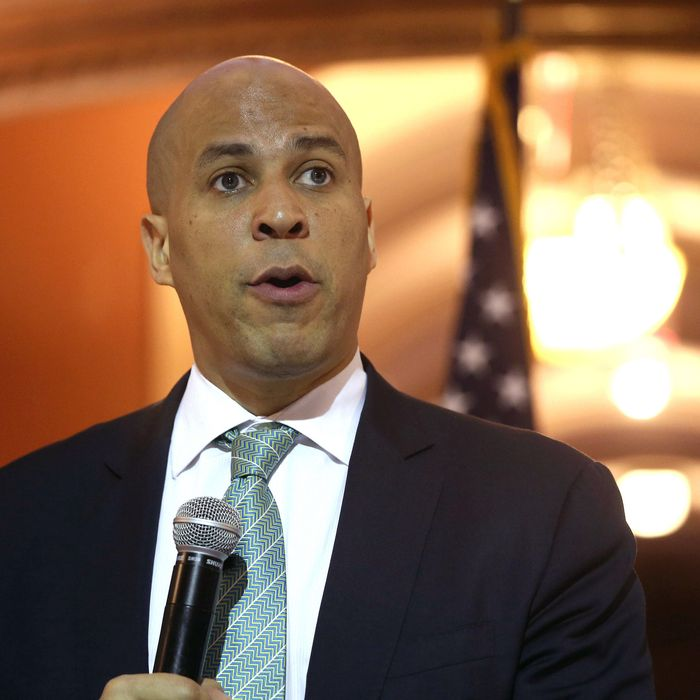 Newark Mayor Cory Booker speaks at the Newark City Hall on May 8, 2013 in Newark, New Jersey. Booker, who has declared that he will run for New Jersey's open U.S. Senate seat in 2014, was attending a ceremony honoring 90-year-old WWII veteran Willie Wilkins on the 68th anniversary of Victory in Europe Day.