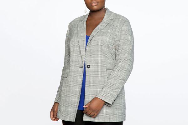 Eloquii Long One Button Plaid Blazer