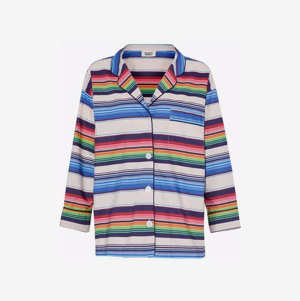 Striped Cotton Pajama Top - strategist best multi color striped night shirt with button front and collar